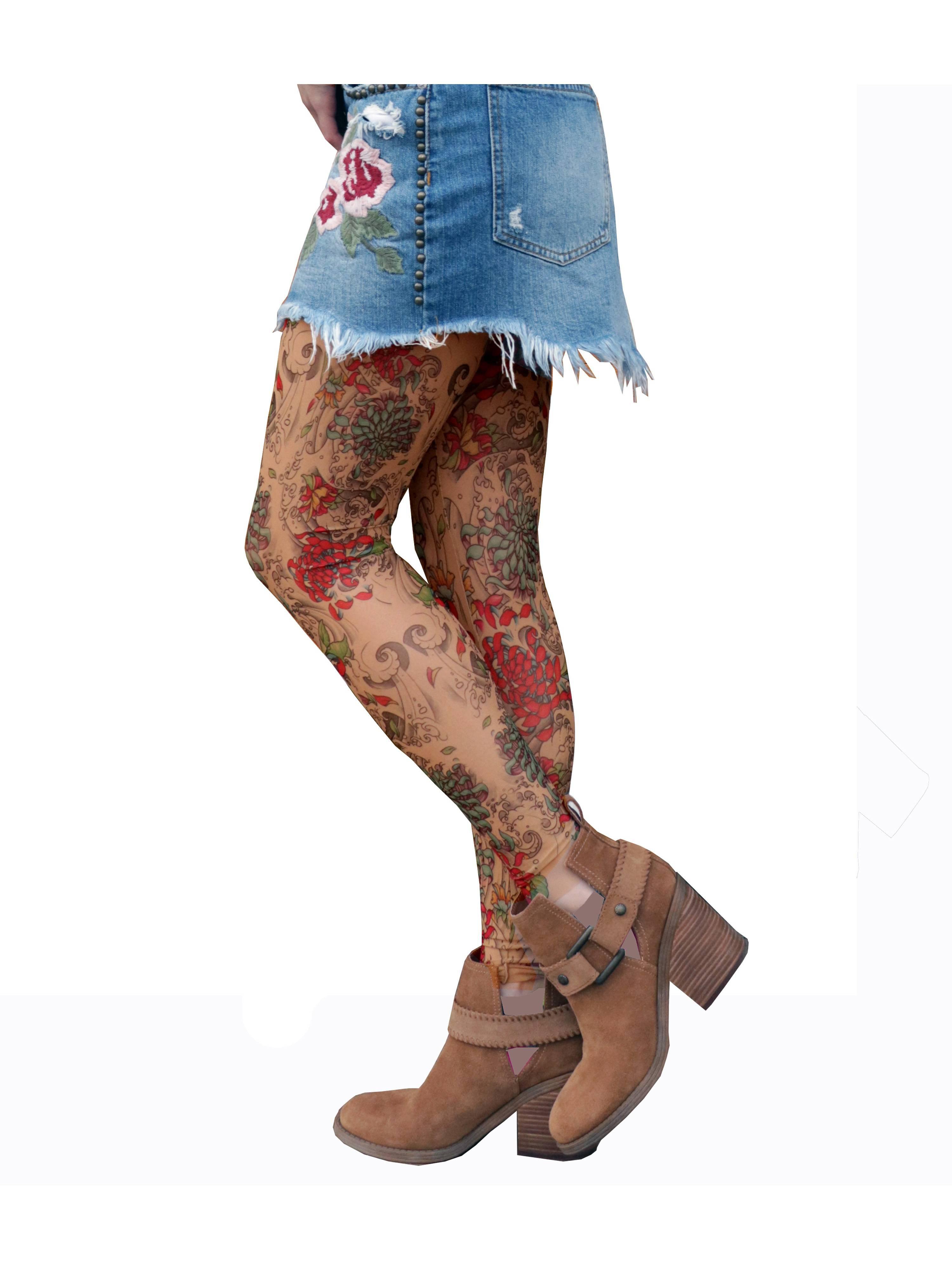 Mums in tights Wild Rose Tattoo Wild Rose Ladies Mums Tattoo Leggings Chrysanthemum Pink Flowers Tan Mesh Walmart Com Walmart Com