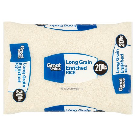 Great Value Long Grain Enriched Rice  20 Lb