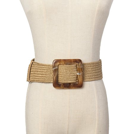 Women Belt Straw Casual Ultra Wide Belt Female Woven Vintage Carved Wood Buckle Elastic Belt Decoration Dress Shirt Waist Seal - image 5 of 5