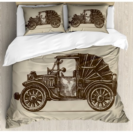 Cars Duvet Cover Set, Classic Retro Car Design Early Prototypes of Automobile Semi Convertible Old School, Decorative Bedding Set with Pillow Shams, Beige Sepia, by Ambesonne