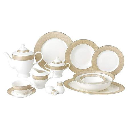 Mikasa China Patterns (Royalty Porcelain Vintage Gold Pattern 57-pc Dinnerware Set 'Marilyn', Premium Bone)