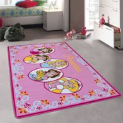 Allstar Pink Rug Kids Baby Room Area Princess Bright Colorful Vibrant Colors