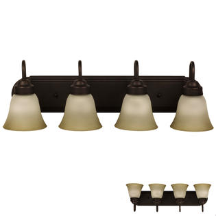 Four Globe Bathroom Vanity Light Bar Bath Fixture Oil Rubbed Bronze With Frosted Glass And Tinted Highlights Walmart Com Walmart Com