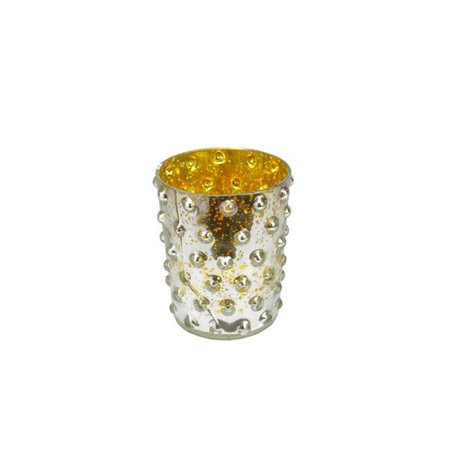 "5"" Gold and Silver Hobnail Mercury Glass Decorative Votive Candle Holder"