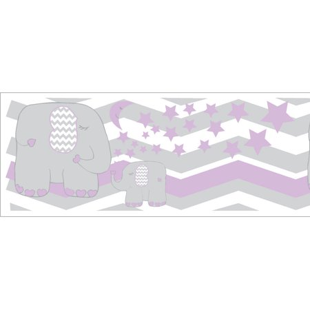 Purple Elephant Border Wall Decals / Jungle Safari Themed Chevron Border with Purple Moon and Stars Nursery Decor - Safari Theme Decor