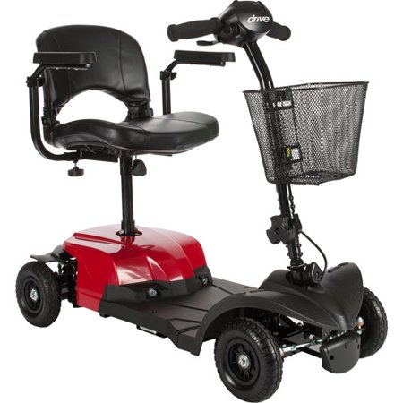 Drive Medical Bobcat X4 Compact Transportable Power Mobility Scooter  4 Wheel  Red
