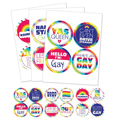 Gay Halloween Party Names (Love is Love - Gay Pride - LGBTQ Rainbow Party Funny Name Tags - Party Badges Sticker Set of)