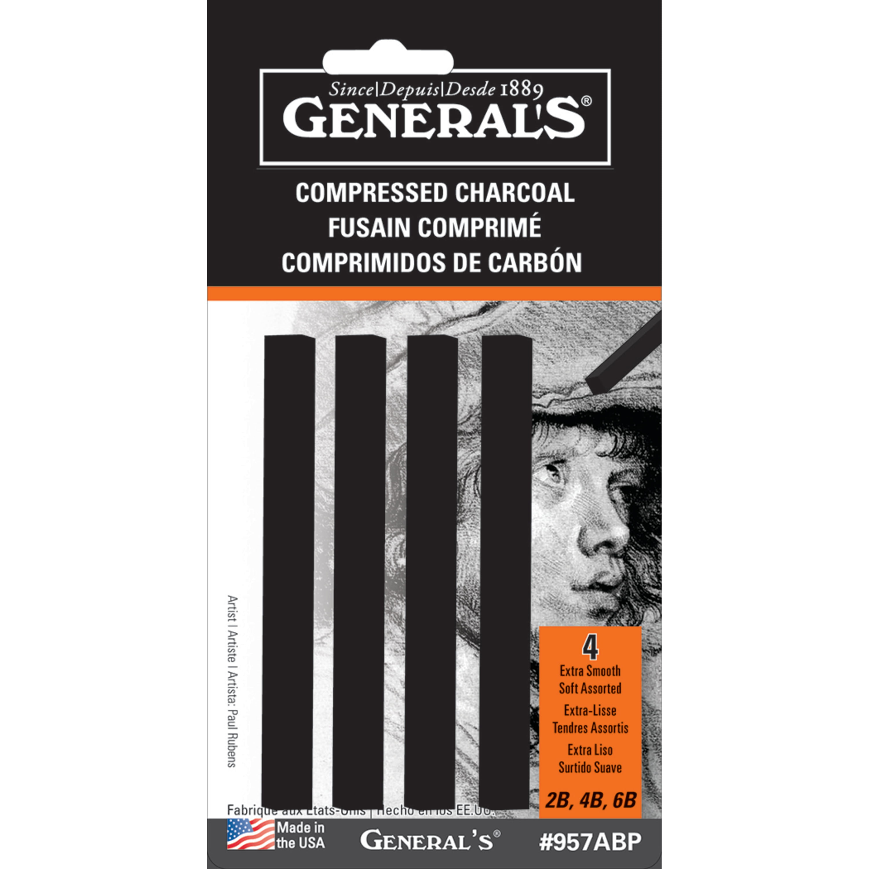 General White Compressed Charcoal Stcks 12//Bx