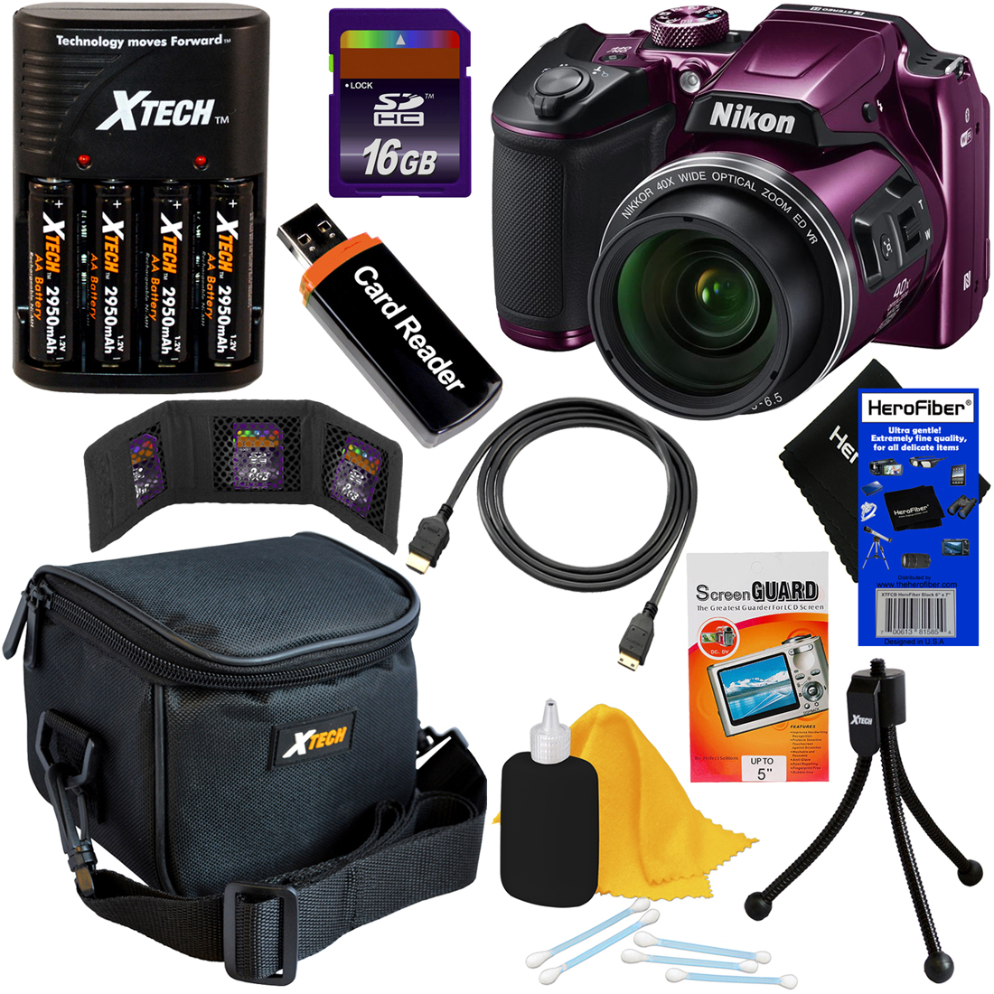 Nikon COOLPIX B500 16MP Wi-Fi, NFC Digital Camera w/40x Zoom & HD Video (Plum) + 4 AA Batteries with Charger + 9pc 16GB Accessory Kit w/ HeroFiber Cleaning Cloth