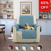 Reversible Water Prevent Faux Suede Furniture Protector, Features Protect from Pets, Spills, Wear and Tear (79 inch x 68 inch for Recliner, Smoke Blue/Beige) REG