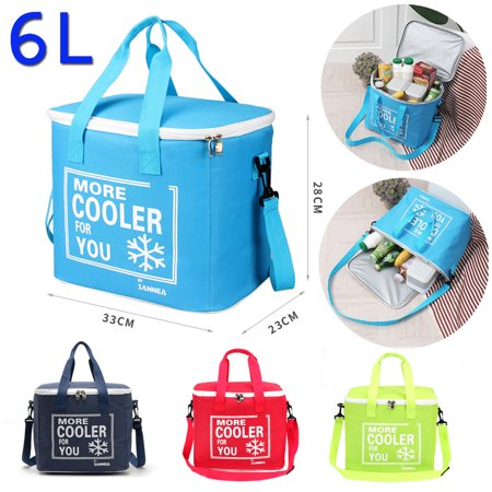 6L Portable Waterproof Insulated Lunch Box Light-weight Outdoor Picnic Food Bag Cold Thermal Storage Box 4 Colors