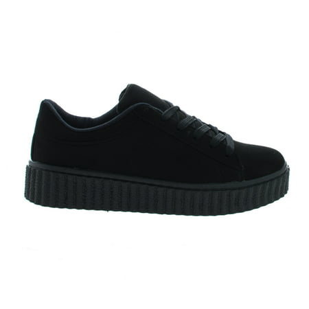 Caleb02 by Wild Diva, Black Suede Lace Up Sneaker w Rubber Texture Ridges Thick Platform (Prada Rubber Sole Sneakers)