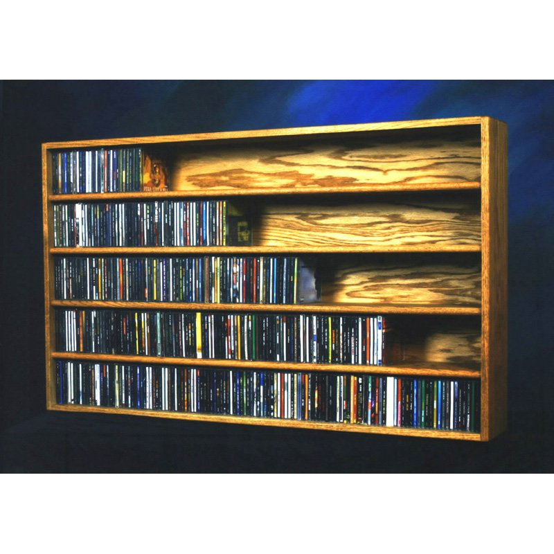 The Wood Shed Solid Oak Wall / Shelf Mount 590 CD Media Cabinet