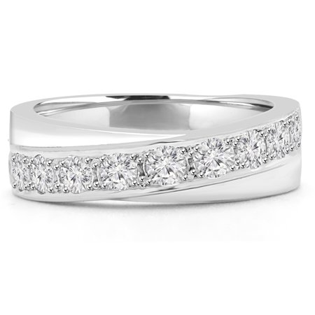 2/3 CTW Round Diamond Semi-Eternity Wedding Band Ring in 14K White Gold (MD180423) - image 1 of 2