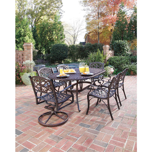 "Home Styles Biscayne 7 Piece 72"" Oval Dining Set with 2 Swivel & 4 Arm Chairs, Multiple Finishes"