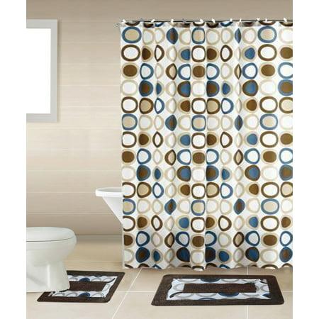 Blue Brown Beige Shower Curtain