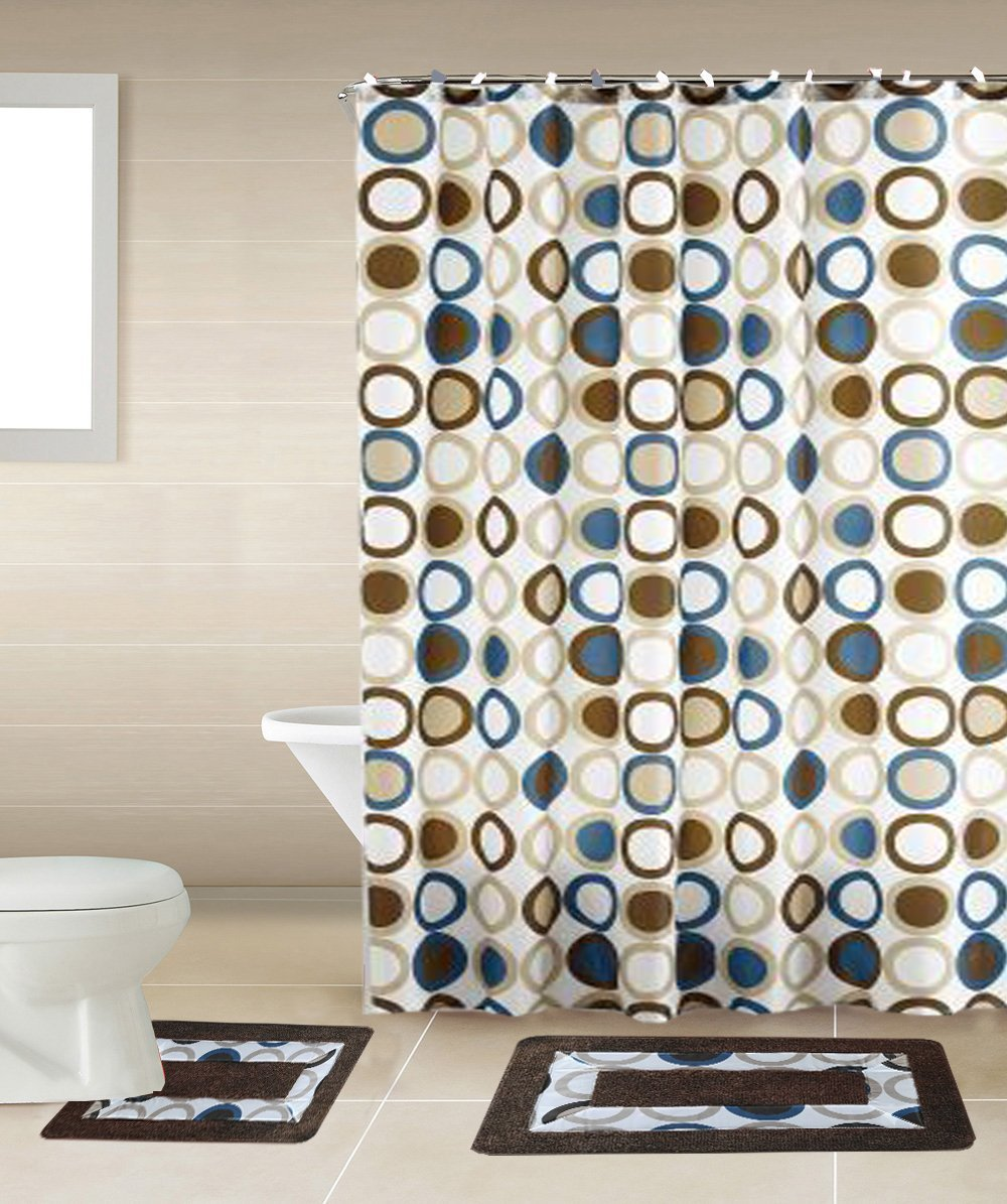 Sami Brown U0026 Blue Circle 15 Piece Bathroom Accessory Set: 2 Bath Mats, Shower  Curtain U0026 12 Fabric Covered Rings