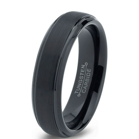 Tungsten Wedding Band - Charming Jewelers Tungsten Wedding Band Ring 6mm for Men Women Comfort Fit Black Beveled Edge Brushed Lifetime Guarantee
