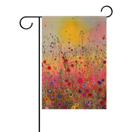 POPCreation Nature Spring Summer Autumn Winter Flower Seasonal Watercolor Decorative Garden Flag 12x18 Inches Abstract Art Floral Outdoor Welcome Flag Banner for Wedding Home Garden Decor