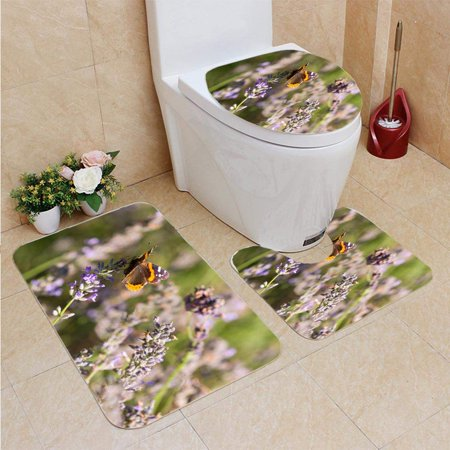 GOHAO Red Admiral Butterfly Garden Lavender 3 Piece Bathroom Rugs Set Bath Rug Contour Mat and Toilet Lid Cover (Garden Bathroom Rugs)