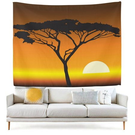 POPCreation Vintage African Desert Tree Sunset Fabric Tapestry Throw Dorm bedroom Art Home Decor Tapestry Wall Hanging 40x60 inches