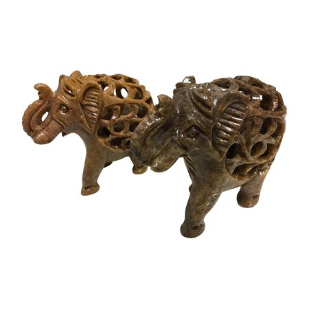 Figurine Handmade Sculpture - Collectable Handmade Soapstone Elephant with Baby Indian Carving Sculpture Figurine Statue - Set of 2