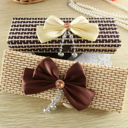 iLH Mallroom Large Capacity Creative Bamboo Bowknot Stationery Box Pencil Case Pen Bag Jewelry