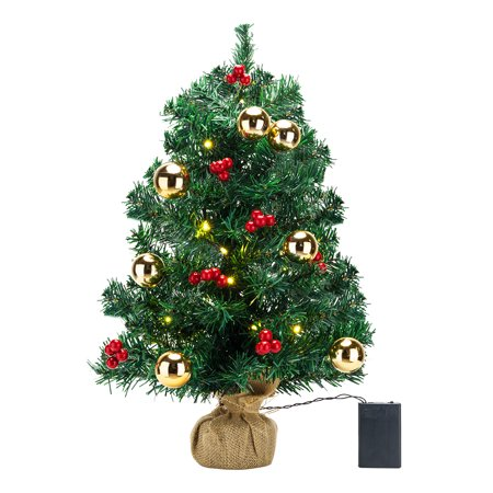 Zimtown Mini Christmas Tree Set with Clear Lights with Ornaments, Best DIY Christmas Decorations - Walmart.com