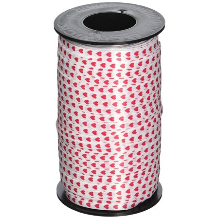 Valentines Red Hearts Printed Curling Ribbon, 3/16-Inch Wide by 500-Yard Spool - Ribbon Heart