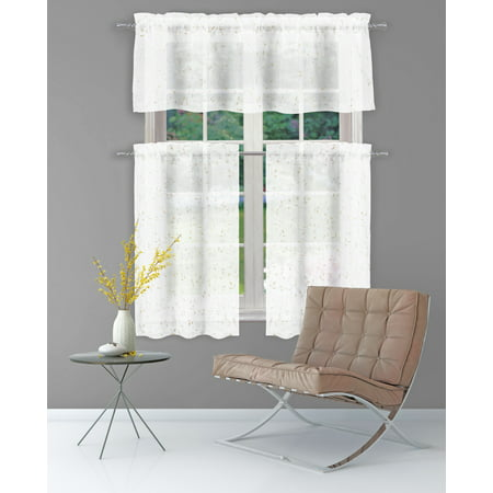 Pure White SHEER 2 Piece Window Curtain Café/Tier Set: Gold Raised Metallic Botanical Design, Bathroom and More Collection (Pair (2) Tiers 36in L Each)