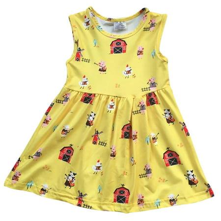 Toddler Girls Lovely Sleeveless Pig Chicken Farm Cotton Birthday Party Girl Dress Yellow 2T XS (P201420P)](2t Birthday Dress)