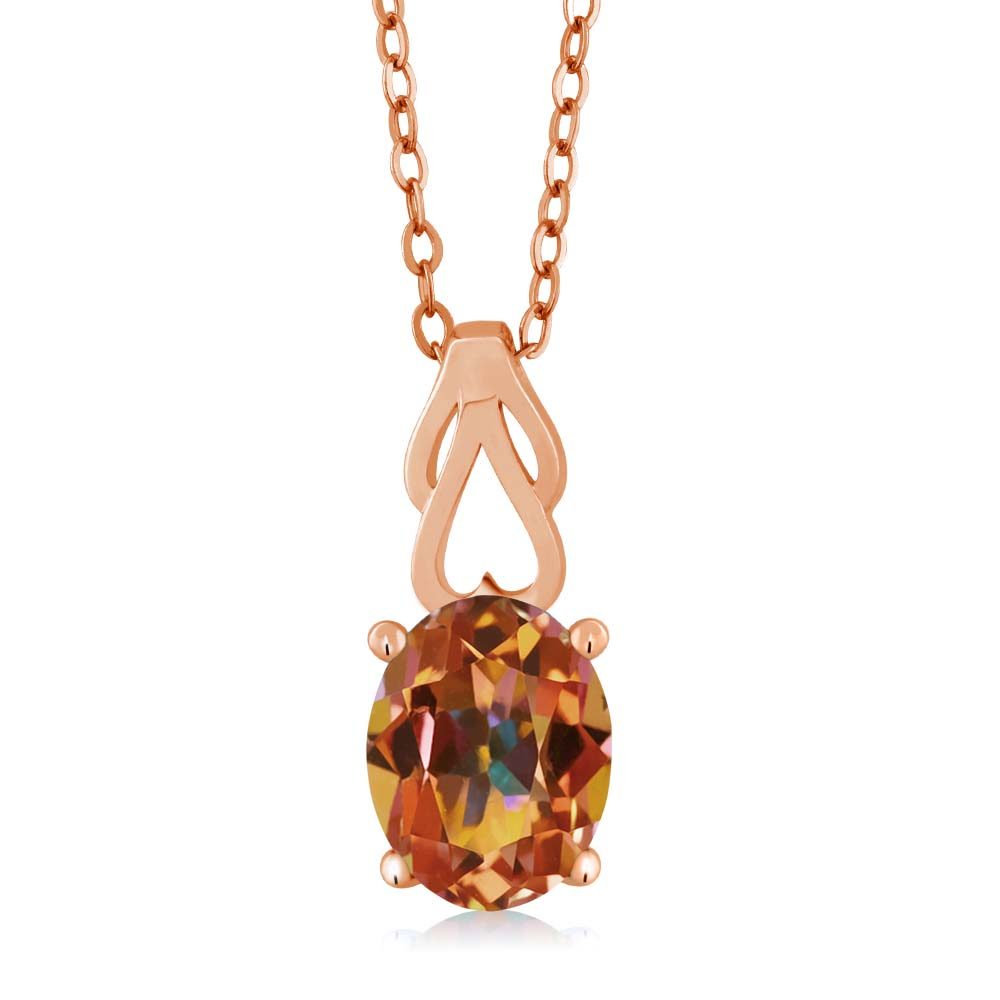 2.30 Ct Oval Ecstasy Mystic Topaz Gold Plated Sterling Silver Pendant