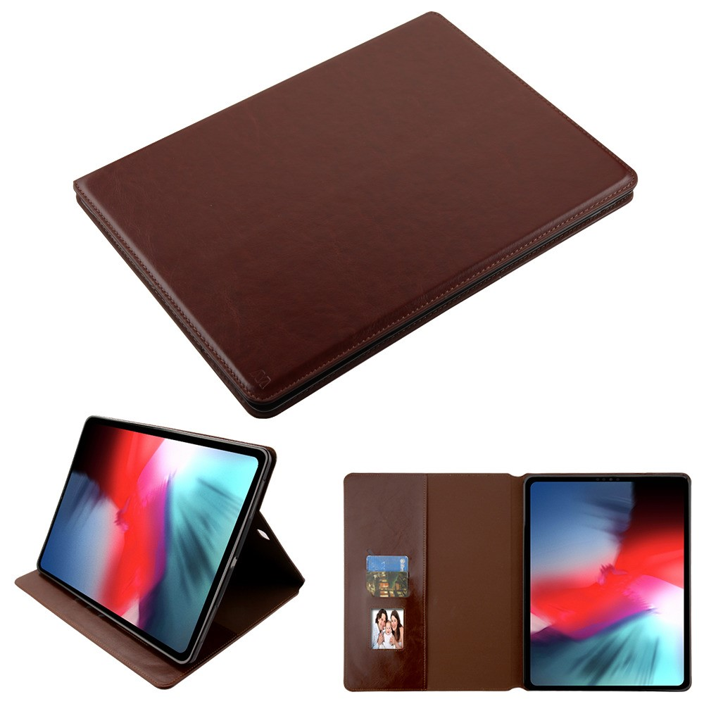 Book-Style Leather Folio Case for iPad Pro 12.9 inch (3rd Generation) - Brown