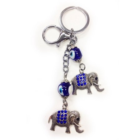 Key Charms (Lucky Elephant Blue Key Ring Chain Keychain Gift Evil Eye Charm Purse Bag)