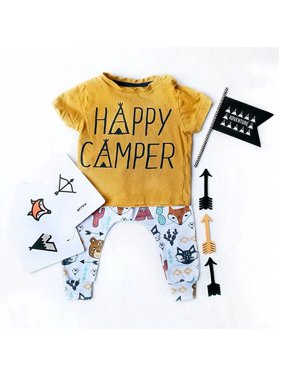 472a8e46 Product Image Happy Camper Toddler Kids Baby Boys Short Sleeve Tops T-Shirt  + Animals Printed Long