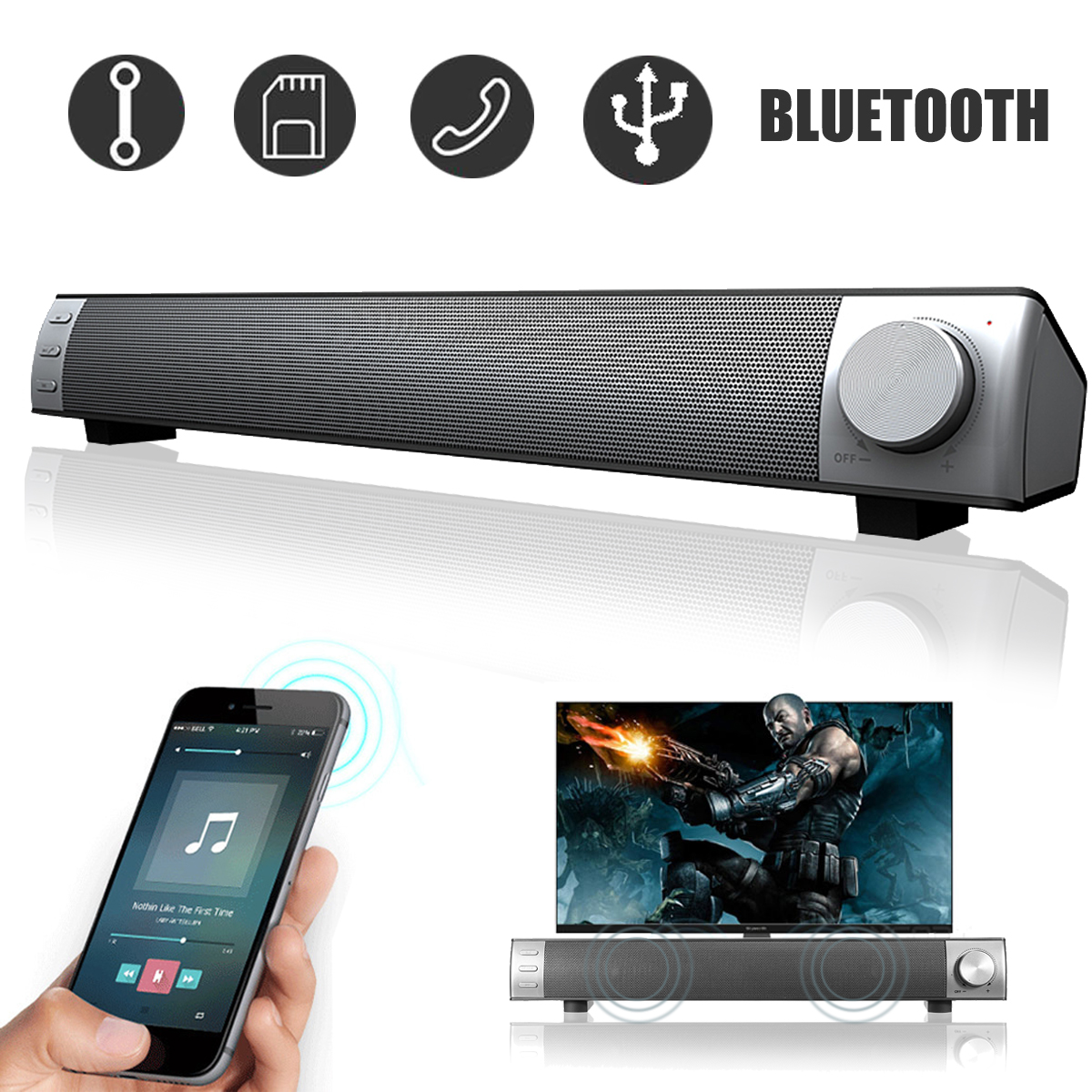 Powerful 360° Stereo 3D Surround Sound Bar Wireless Bluetooth Speaker System Home Theater Amplifier Subwoofer For TV PC Desktop Laptop Tablet Smartphone