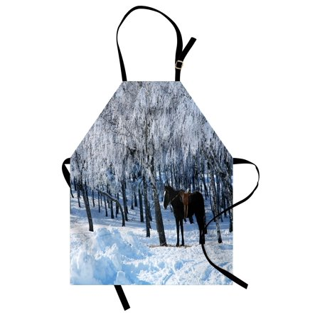 (Equestrian Apron Horse between Trees in the Winter Forest Frozen Woods Icy Land Nature Picture, Unisex Kitchen Bib Apron with Adjustable Neck for Cooking Baking Gardening, Brown White, by Ambesonne)