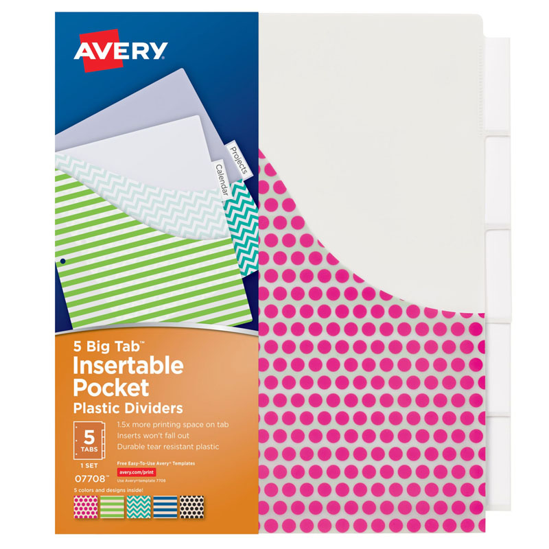 Avery Big Tab Insertable Plastic Dividers with Pockets, Assorted Fashion Designs, 5 Tabs, 1 Set (07708)