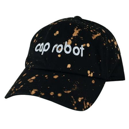 CapRobot Paint Ball Strapback Hat Dad Cap - Black Grey - Black Bald Cap