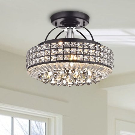 The Lighting Store Jolie Antique Black Drum Shade Crystal Semi Flush Mount Chandelier