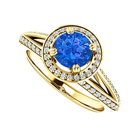 Round Sapphire Cubic Zirconia Halo Ring Gold Vermeil - image 1 of 2