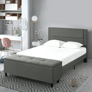 """Zinus Wanda 48"""" Upholstered Platform Bed with cushioned Headboard and storage Ottoman, Queen"""
