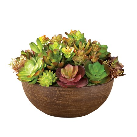 Faux Artificial Succulents in Round, Natural Color Tabletop Planter ()