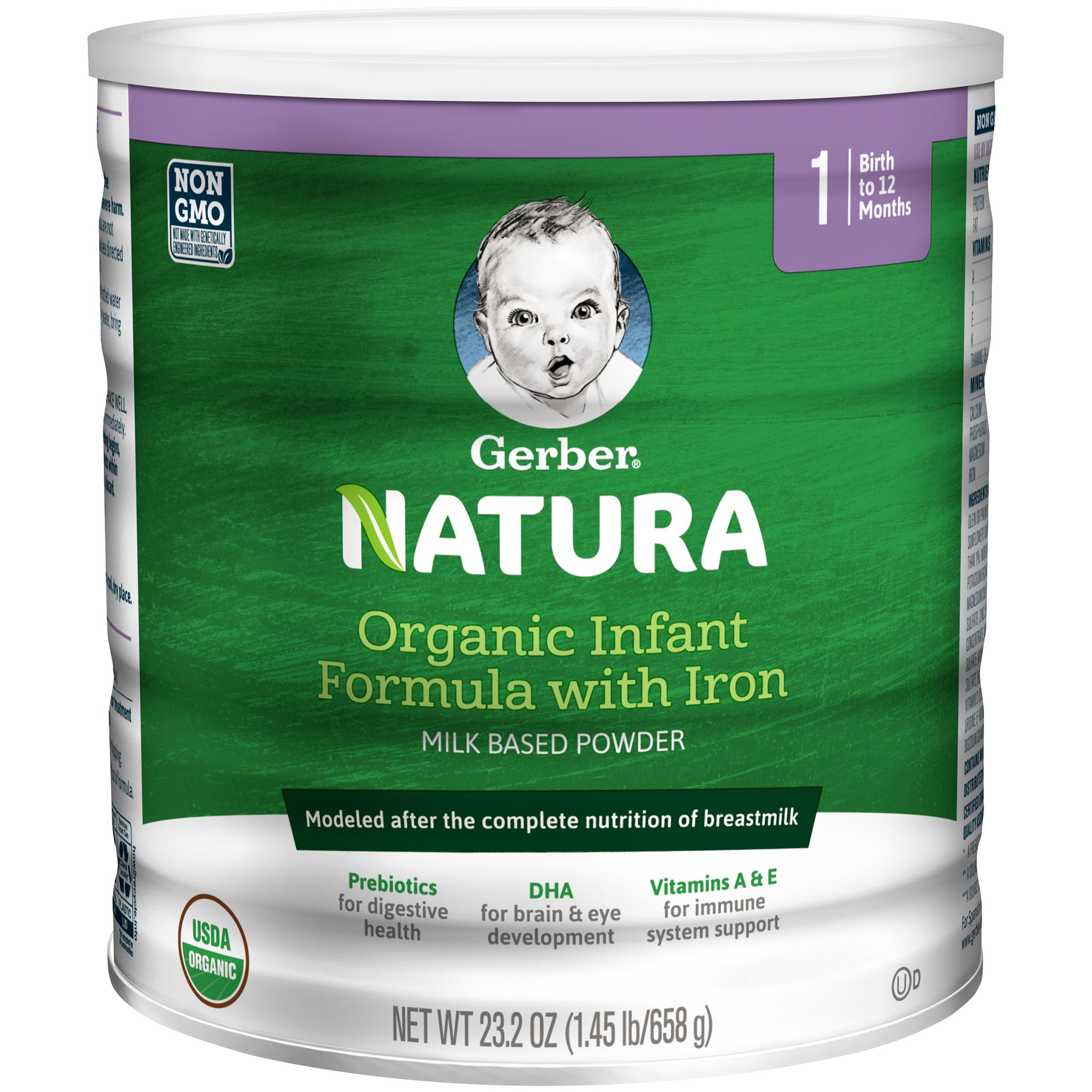 Gerber Natura Organic Powder Infant Formula, Stage 1, 23.2 oz