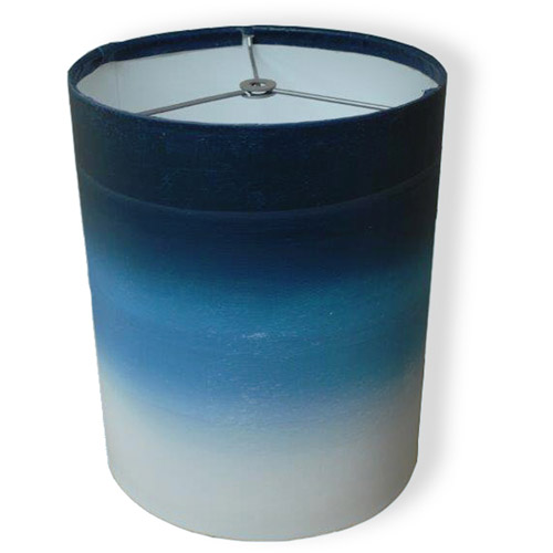 "10"" Drum Lamp Shade, Dark Blue Watercolor"