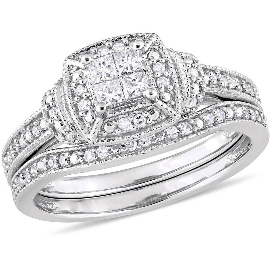 Miabella 1 3 Carat T.W. Diamond 10kt White Gold Quad Bridal Set by Generic