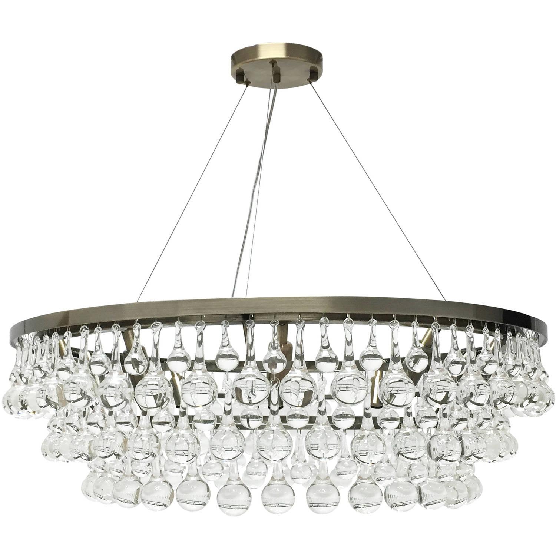 Celeste glass drop crystal chandelier antique brass
