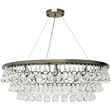 Celeste glass drop crystal chandelier antique brass