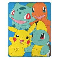 "Pokmon Kantos Pals 55"" x 70"" Silk Touch Throw w/ Pikachu, Squirtle, Bulbasaur and Charmander"