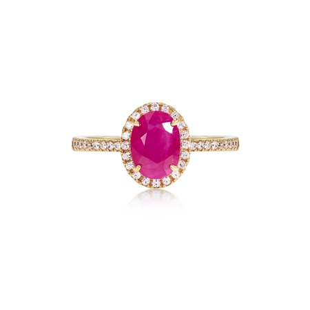 Treated Oval Ruby Ring with Cubic Zirconia accents set in 14K Yellow Gold